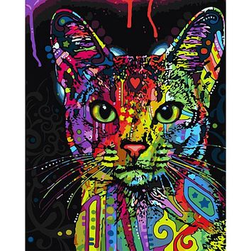 Frameless Colorful Cat DIY Painting By Numbers Abstract Modern Wall Art Picture Kits Coloring Painting By Numbers For Home Decor