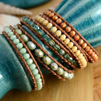 Sage green, turquoise, rose wrap bracelet. Long beaded leather wrap bracelet.