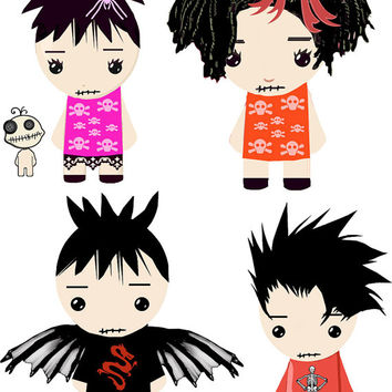 Goth dolls boys girls clip art collage sheet digital graphics pngs Halloween childrens craft printables