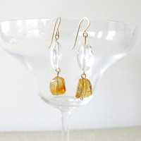 Citrine tribal  earrings, golden citrine drop earrings with crystal quartz, gift for under 50