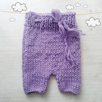 Hand knit baby romper  lavender / Newborn Photo prop / baby photography / Baby girl