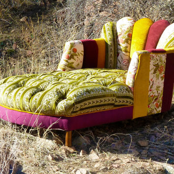 Vintage Patchwork Channel Tufted Chaise Lounge by vintagerenewal