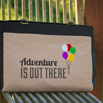 "Adventure Is Out There Pixar Up Disney Inspired - Office and 15"" Laptop Shoulder Bag Genuine Leather"