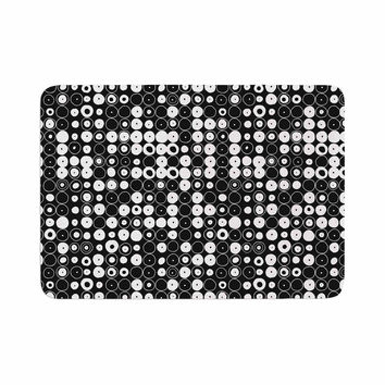 "Nandita Singh ""White & Black Funny Polka Dots "" Black Abstract Memory Foam Bath Mat"