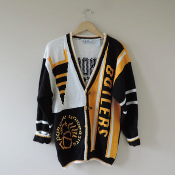 Vintage Purdue Belle Pointe Cardigan Sweater Game Day Gear // Size LARGE