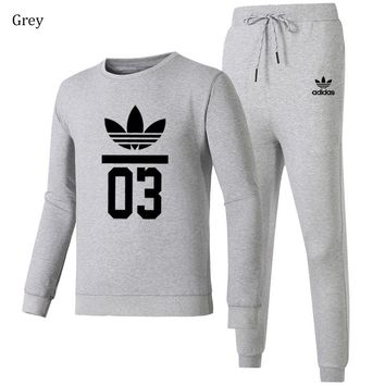 ADIDAS Clover autumn and winter trend men and women casual sportswear two-piece Grey