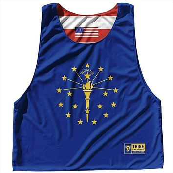 Indiana State Flag and American Flag Reversible Lacrosse Pinnie
