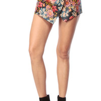 Autumn Flowers Leatherette Overlapped Shorts