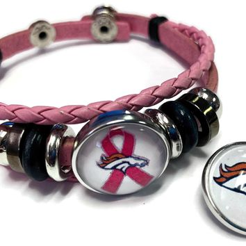 Breast Cancer Awareness NFL Denver Broncos Pink Leather Bracelet W/2 Snap Jewelry Charms New Item