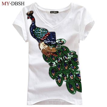 New Fashion Women Elegant Peacock O Neck T shirt Femal Sequins Embroidery T-shirt Casual Top Tees Plus Size S-4XL Free Shipping