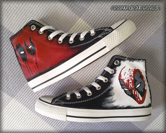 Deadpool Custom Converse Painted Shoes From