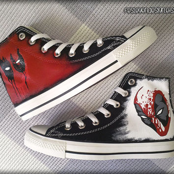 Deadpool Custom Converse / Painted Shoes