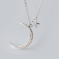 Personalized stars of the moon 925 sterling silver necklace ,a perfect gift