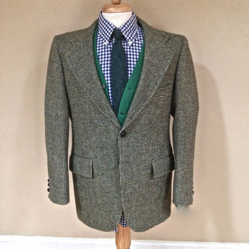 41R - 42R Medium Vintage Fall Wedding Rustic Harris Tweed Sports Coat Men Blazer Green Preppy