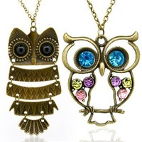Vintage, Retro Colorful Crystal Owl Pendant and Long Chain Necklace with Antiqued Bronze/Brass Finish