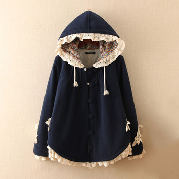 Manteau hiver femme 2015 winter thicken fleece lined hooded womens capes and ponchoes mori girl cute wool coat