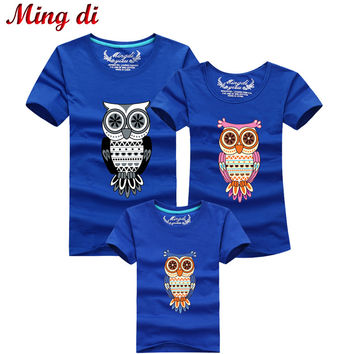 Ming Di New 2017 Fashion Family Matching Outfits Cartoon Owl Style High quality Summer T shirts Casual Cotton Children Clothing