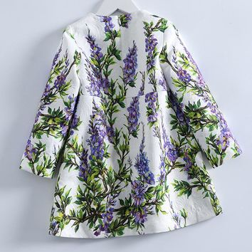Children Clothing Flowers and Grass Pattern Long Sleeves Girl Dresses