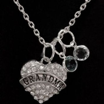 Birthstone Crystal Grandma Gift For Mother's Day Personalized Necklace