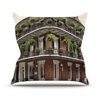 "Sylvia Cook ""New Orleans Street Corner"" Green Brown Outdoor Throw Pillow"