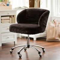 Coffee Luxe Fur Wingback Desk Chair