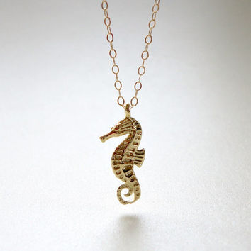 Seahorse necklace, Gold filled chain, Simple everyday necklace