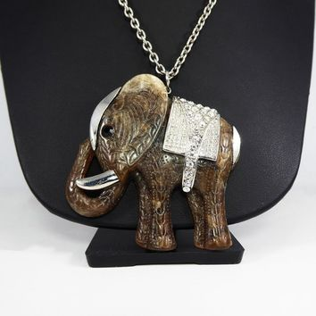 Rhinestone Elephant Necklace, Brown Resin Wild Animal Pendant, Clear Rhinestones & Silver Accents, Rope Length Chain, Retro 1990s Necklace