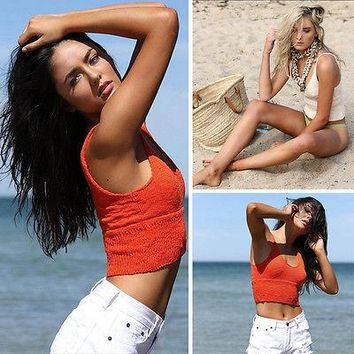 Summer Women Crochet Bralette Knitted Tank Tops Bra Summer Sleeveless Halter Crop Top Red Beige