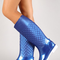 Quilted Panel Knee High Rain Boot