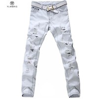 Men's Jeans Denim Ripped Loose light white heavy casual slim pants