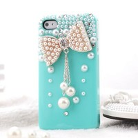 Leegoal(TM)S9D New 3D Bow Bling Crystal pearl Hard Skin Back Case Cover For iPhone 4 4G 4S Blue