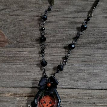 Hand Sculpted 'Halloween Spirit' Coffin Locket Pendant - Necklace. Spooky / Pumpkins / Moss / Dried Flowers / Wearable Art