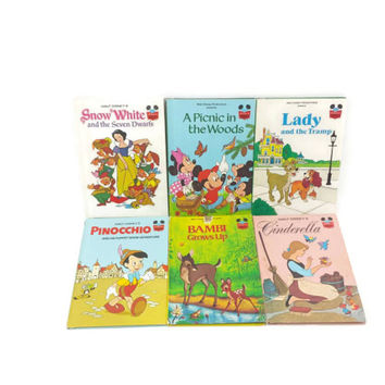 Collection of 6 Vintage Disney Childrens Books, Cinderella, Snow White, Lady & the Tramp, Pinocchio,Bambi,Mickey,Minnie,Kids Stories,Classic