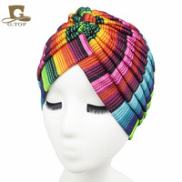 women hat Stretchy Turban Head Wrap Band Sleep Hat Chemo Bandana Hijab