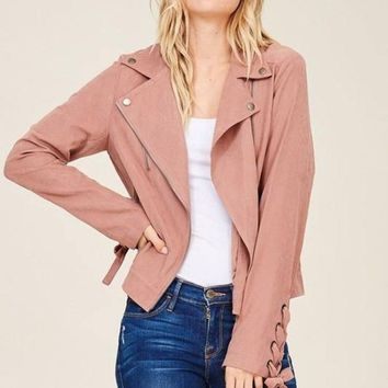 Here and Now Dusty Rose Suede Moto Jacket