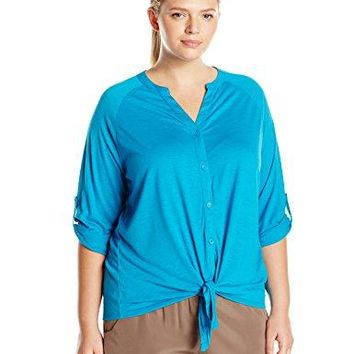Allison Brittney Womens Plus Size 34 Raglan Sleeve with Tabs Mandarin Collar Tie Front Shirt with Shirt Tail Bottom Hem