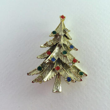 Christmas Tree Brooch, Pin, Multicolored, Rhinestone Sets, Gold tone, Vintage Jewelry