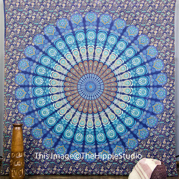 Blue Mandala Tapestry Hippie Tapestries by TheHippieStudio on Etsy