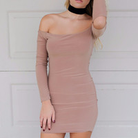 With Open Arms Nude Mini Dress
