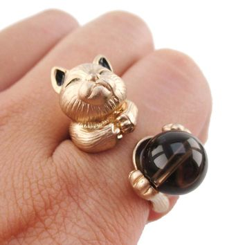 Playful Kitty Cat Shaped Animal Inspired Ring in Rose Gold