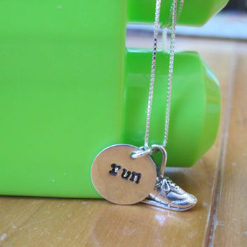 """Sterling silver running necklace with hand stamped """"run"""" charm on 16 inch sterling silver bead chain"""