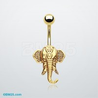 Golden Ganesha Elephant Belly Button Ring