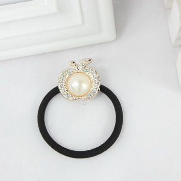 TS 5pcs hic Lovely Pearl Skull crownBow Bowknot Hair Band Hair Jewelry Bow Hair Rope Headwear Elastic Hair Accessories