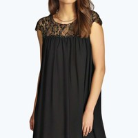 Narci Lace Top Chiffon Swing Dress
