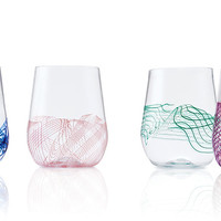 Spiro Stemless Wine Glasses by Frost Glass (Art Glass Drinkware) | Artful Home
