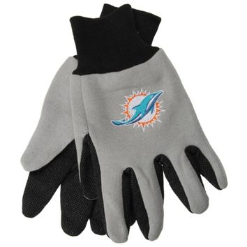 Miami Dolphins Two Tone Adult Size Gloves - Grey with Black Palm
