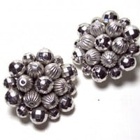 Vintage 60-70s Style Cluster Earrings