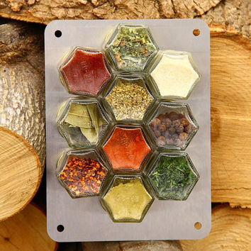 DIY Set of 10 Empty Magnetic Jars... Spice Rack To Fill With Your Own Spices.. Best Price on Etsy!...FREE SHIPPING