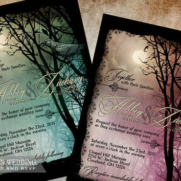 Halloween Wedding Set Edgar Allen Poe Inspired Halloween Wedding Goth Wedding Halloween Party Invite DIY Printable Halloween Wedding Set