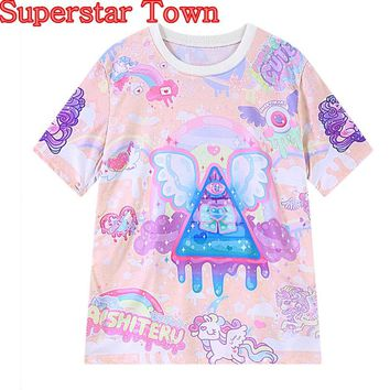 2016 Summer Anime Tops Lolita T shirt Kawaii Rainbow Pegasus Printing Harajuku Trend Fashion Tee Casual Shirt